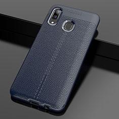 Funda Silicona Goma de Cuero Carcasa S01 para Samsung Galaxy A30 Azul