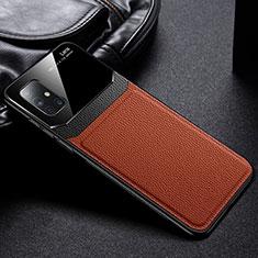 Funda Silicona Goma de Cuero Carcasa S01 para Samsung Galaxy A51 5G Marron