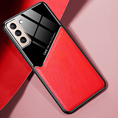 Funda Silicona Goma de Cuero Carcasa S01 para Samsung Galaxy S21 5G Rojo