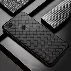 Funda Silicona Goma de Cuero Carcasa S01 para Xiaomi Mi 8 Lite Negro