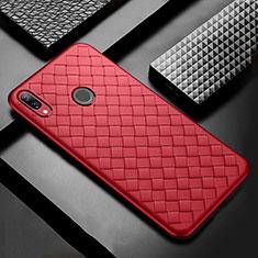 Funda Silicona Goma de Cuero Carcasa S02 para Huawei P Smart+ Plus Rojo