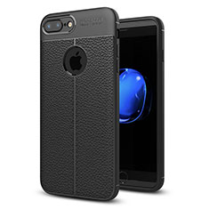 Funda Silicona Goma de Cuero Carcasa S05 para Apple iPhone 8 Plus Negro