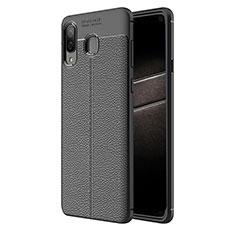 Funda Silicona Goma de Cuero K01 para Samsung Galaxy A8 Star Negro
