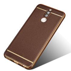 Funda Silicona Goma de Cuero para Huawei Mate 10 Lite Marron