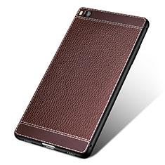 Funda Silicona Goma de Cuero para Huawei P8 Marron