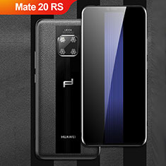 Funda Silicona Goma de Cuero Q01 para Huawei Mate 20 RS Negro