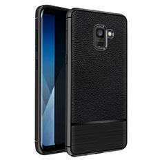 Funda Silicona Goma de Cuero Q01 para Samsung Galaxy A5 (2018) A530F Negro