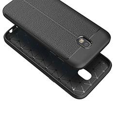 Funda Silicona Goma de Cuero Q01 para Samsung Galaxy J7 (2017) SM-J730F Negro