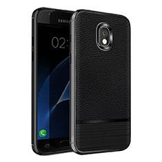 Funda Silicona Goma de Cuero Q01 para Samsung Galaxy J7 (2018) J737 Negro
