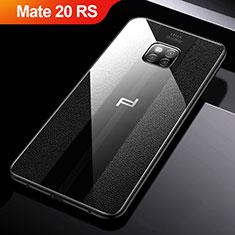 Funda Silicona Goma de Cuero W01 para Huawei Mate 20 RS Negro