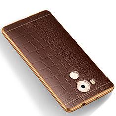 Funda Silicona Goma de Cuero W01 para Huawei Mate 8 Marron