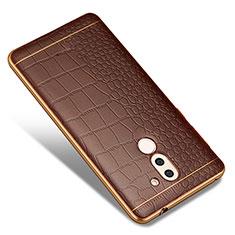 Funda Silicona Goma de Cuero W01 para Huawei Mate 9 Lite Marron