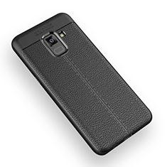 Funda Silicona Goma de Cuero W01 para Samsung Galaxy A5 (2018) A530F Negro