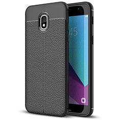 Funda Silicona Goma de Cuero W01 para Samsung Galaxy J7 (2018) J737 Negro