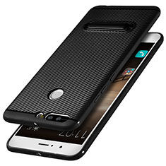 Funda Silicona Goma Twill con Soporte para Huawei Honor V9 Negro