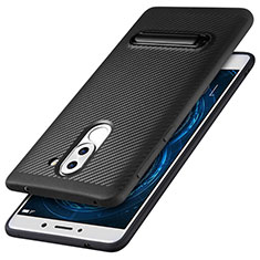 Funda Silicona Goma Twill con Soporte para Huawei Mate 9 Lite Negro