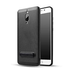 Funda Silicona Goma Twill con Soporte para Huawei Mate 9 Pro Negro