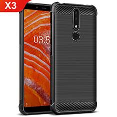 Funda Silicona Goma Twill para Nokia X3 Negro