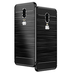 Funda Silicona Goma Twill para OnePlus 6 Negro