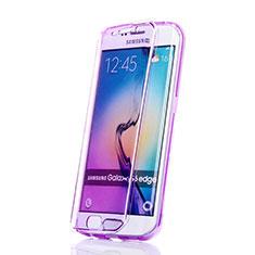 Funda Silicona Transparente Cubre Entero para Samsung Galaxy S6 Edge SM-G925 Morado