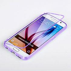 Funda Silicona Transparente Cubre Entero para Samsung Galaxy S6 SM-G920 Morado