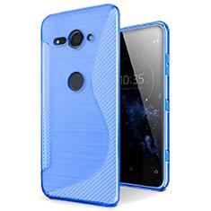 Funda Silicona Transparente S-Line Carcasa para Sony Xperia XZ2 Compact Azul