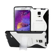 Funda Silicona Transparente S-Line con Soporte para Samsung Galaxy Note 4 Duos N9100 Dual SIM Negro
