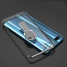 Funda Silicona Ultrafina Carcasa Transparente con Anillo de dedo Soporte para Huawei Honor 10 Gris