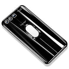 Funda Silicona Ultrafina Carcasa Transparente con Anillo de dedo Soporte S01 para Huawei Honor 9 Negro