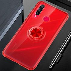 Funda Silicona Ultrafina Carcasa Transparente con Magnetico Anillo de dedo Soporte C01 para Huawei Honor 20 Lite Rojo