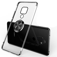 Funda Silicona Ultrafina Carcasa Transparente con Magnetico Anillo de dedo Soporte C01 para Huawei Mate 20 Negro