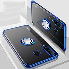 Funda Silicona Ultrafina Carcasa Transparente con Magnetico Anillo de dedo Soporte C01 para Huawei P30 Lite New Edition Azul