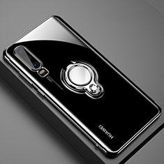 Funda Silicona Ultrafina Carcasa Transparente con Magnetico Anillo de dedo Soporte C01 para Huawei P30 Negro