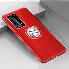 Funda Silicona Ultrafina Carcasa Transparente con Magnetico Anillo de dedo Soporte C01 para Huawei P40 Pro+ Plus Rojo