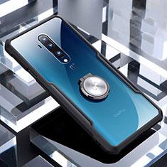 Funda Silicona Ultrafina Carcasa Transparente con Magnetico Anillo de dedo Soporte C01 para OnePlus 7T Pro Negro