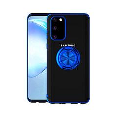 Funda Silicona Ultrafina Carcasa Transparente con Magnetico Anillo de dedo Soporte C01 para Samsung Galaxy S20 5G Azul