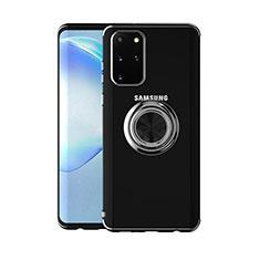 Funda Silicona Ultrafina Carcasa Transparente con Magnetico Anillo de dedo Soporte C01 para Samsung Galaxy S20 Plus Negro