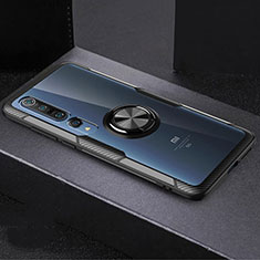 Funda Silicona Ultrafina Carcasa Transparente con Magnetico Anillo de dedo Soporte C01 para Xiaomi Mi 10 Pro Negro