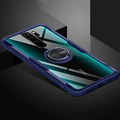 Funda Silicona Ultrafina Carcasa Transparente con Magnetico Anillo de dedo Soporte C01 para Xiaomi Redmi Note 8 Pro Azul