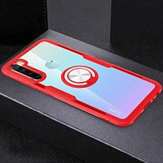 Funda Silicona Ultrafina Carcasa Transparente con Magnetico Anillo de dedo Soporte C01 para Xiaomi Redmi Note 8T Rojo