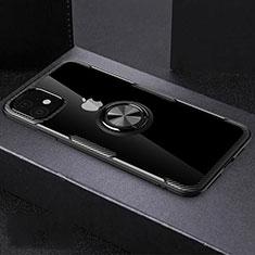 Funda Silicona Ultrafina Carcasa Transparente con Magnetico Anillo de dedo Soporte C02 para Apple iPhone 11 Negro