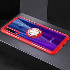 Funda Silicona Ultrafina Carcasa Transparente con Magnetico Anillo de dedo Soporte C02 para Huawei Honor 20 Lite Rojo
