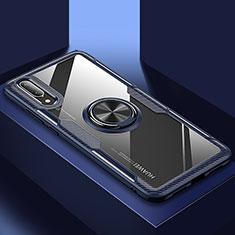 Funda Silicona Ultrafina Carcasa Transparente con Magnetico Anillo de dedo Soporte C02 para Huawei P20 Azul