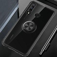 Funda Silicona Ultrafina Carcasa Transparente con Magnetico Anillo de dedo Soporte C02 para Huawei P30 Lite Negro