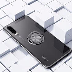 Funda Silicona Ultrafina Carcasa Transparente con Magnetico Anillo de dedo Soporte C02 para Huawei P30 Negro