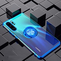 Funda Silicona Ultrafina Carcasa Transparente con Magnetico Anillo de dedo Soporte C02 para Huawei P30 Pro Azul