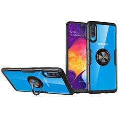 Funda Silicona Ultrafina Carcasa Transparente con Magnetico Anillo de dedo Soporte C02 para Samsung Galaxy A70S Negro