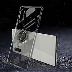 Funda Silicona Ultrafina Carcasa Transparente con Magnetico Anillo de dedo Soporte C02 para Samsung Galaxy Note 10 Plus 5G Negro
