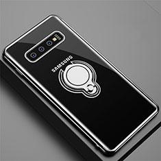 Funda Silicona Ultrafina Carcasa Transparente con Magnetico Anillo de dedo Soporte C02 para Samsung Galaxy S10 Negro