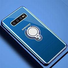 Funda Silicona Ultrafina Carcasa Transparente con Magnetico Anillo de dedo Soporte C02 para Samsung Galaxy S10 Plus Azul
